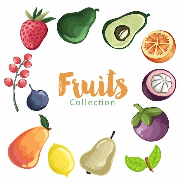 Reeks van kleurrijke cartoon fruit. fruit collectie Premium Vector