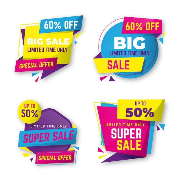 Reeks van kleurrijke verkoop banner collectie Gratis Vector