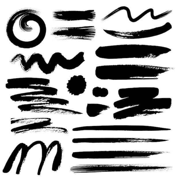 Reeks van penseelstreek, zwarte inkt grunge penseelstreken. Premium Vector