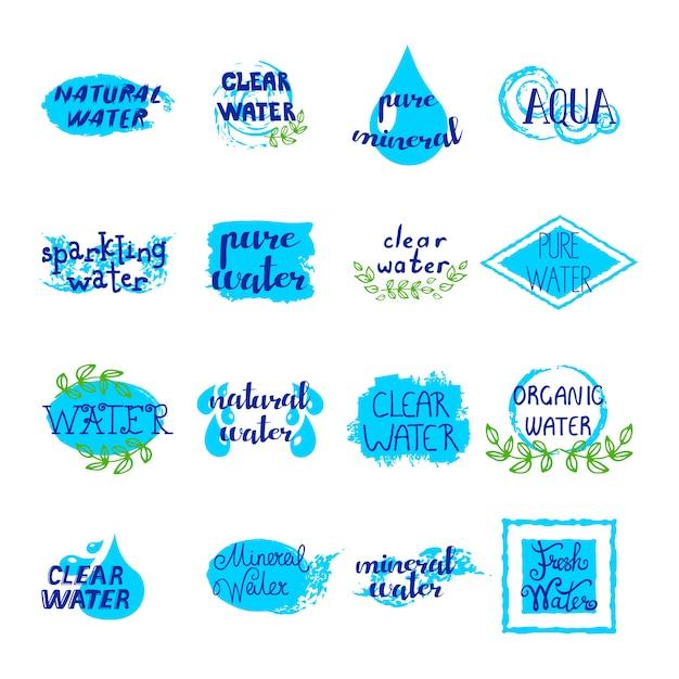 Reeks van water retro etiketten blauwe aquaelementen en tekens op witte achtergrond Gratis Vector