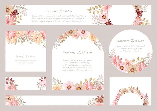 Reeks van waterverf bloemenachtergrond met tekstruimte, illustratie. Premium Vector