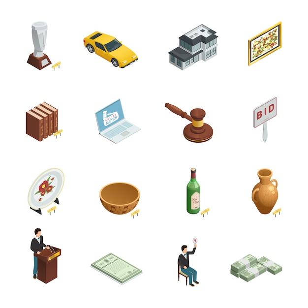 Reeks van zestien geïsoleerde veiling isometrische pictogrammen met de biedende waardevolle goederen van de peddelhamer Gratis Vector