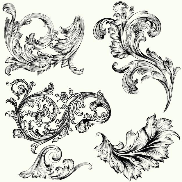 Reeks vctor decoratieve ornamenten in uitstekende stijl Gratis Vector