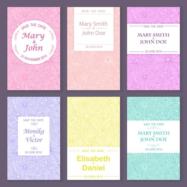Reeks vector de kaartmalplaatjes van de groetuitnodiging voor sparen de datum, huwelijk, verjaardag Premium Vector