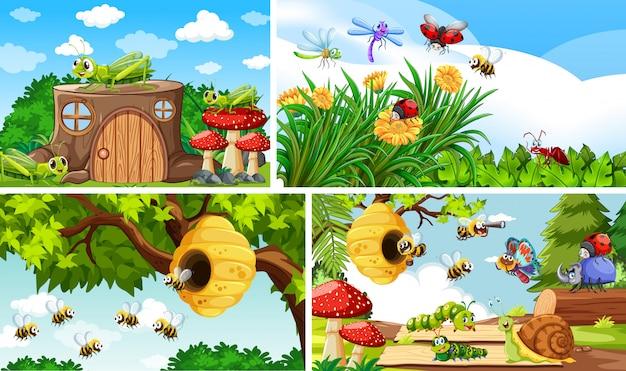 Reeks verschillende insecten die op de tuinachtergrond leven Gratis Vector