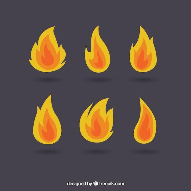 Reeks vlammen van verschillend type Gratis Vector