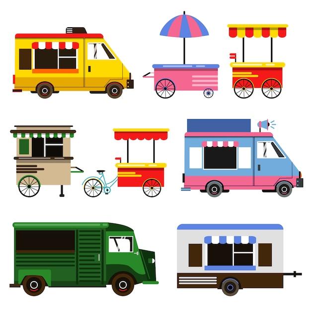 Reeks voedseltrucks en fietsen voor commercieel gebruik Premium Vector