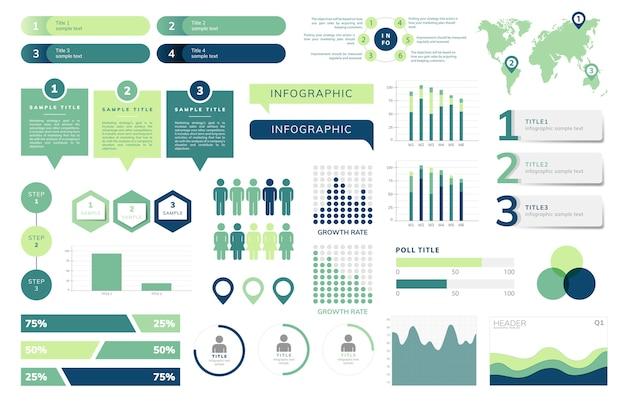 Reeks zakelijke infograph-vectoren Gratis Vector