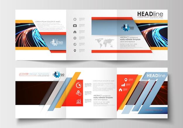 Reeks zakelijke sjablonen voor gevouwen vierkante brochures. Premium Vector