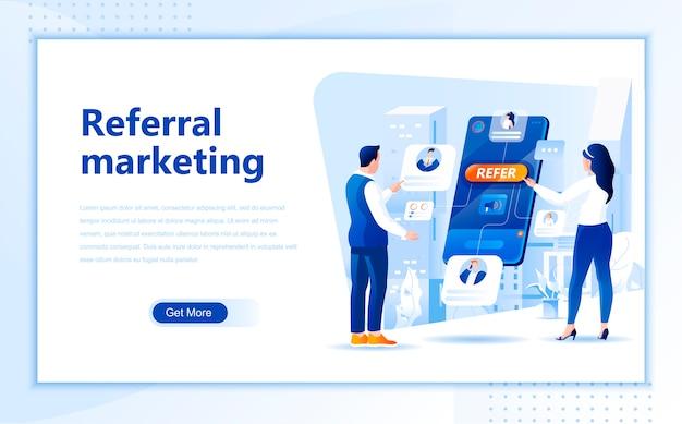 Referral marketing platte bestemmingspagina sjabloon van startpagina Premium Vector