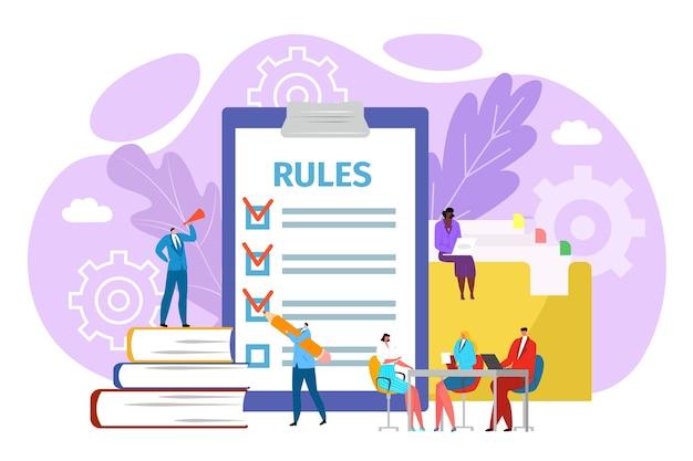 Regels in kantoorconcept, illustratie. juridische wet bedrijfsreglementering. naleving van zaken door zakenmensen en beleidsbeheer. afspraken en principes van werk, regels in functie. Premium Vector
