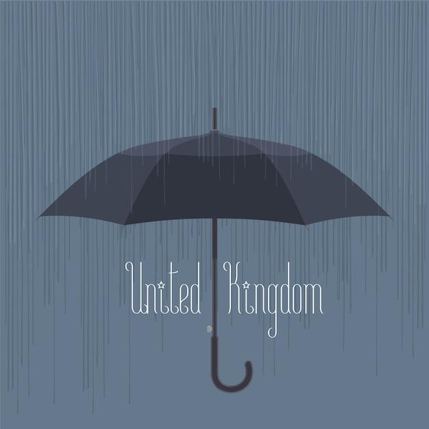 Regen en paraplu in het verenigd koninkrijk, londen vectorillustratie Premium Vector
