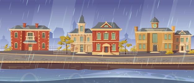 Regen en wind in de oude stad met retro europese gebouwen en promenade langs het meer. Gratis Vector