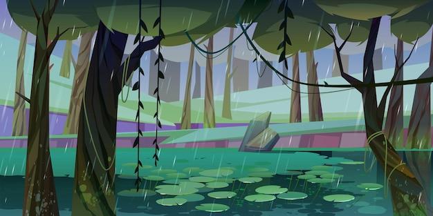 Regen in bos met moeras of meer en drijvende waterlelies. Gratis Vector