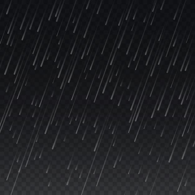 Regen op transparante geruite achtergrond Premium Vector