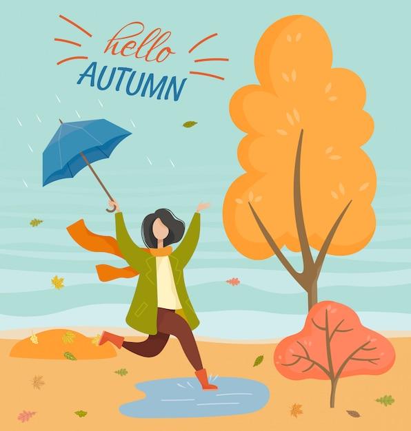 Regenachtig weer in autumn park postcard Premium Vector