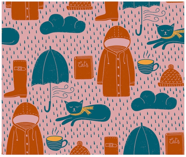 Regenachtige dagen naadloos patroon Premium Vector
