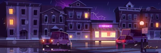 Regenachtige straat, nat weer in de nachtstad met auto's langs een verlichte weg met lantaarnpalen en kruispunt Gratis Vector