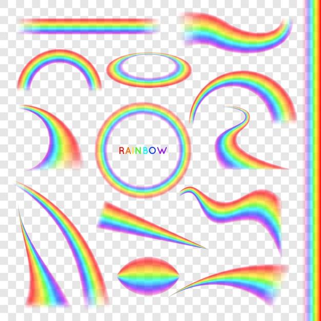 Regenbogen in verschillende vorm realistische set Premium Vector