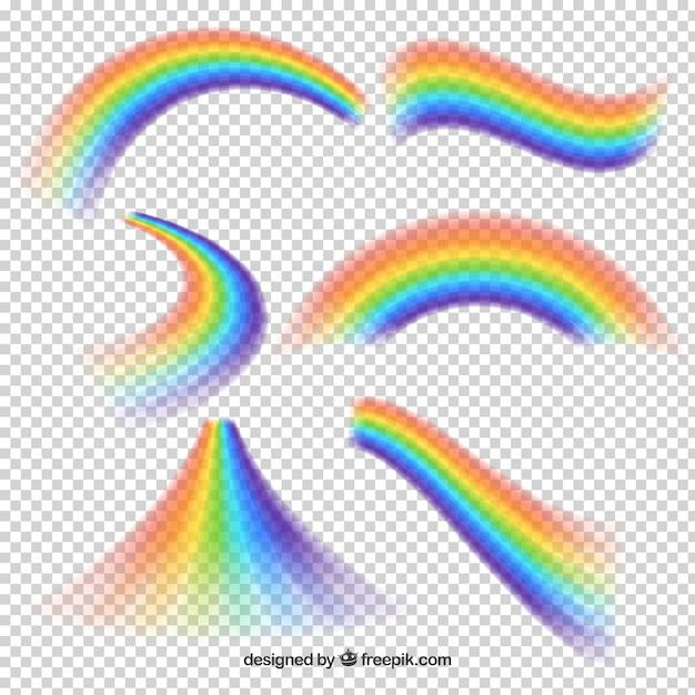 Regenbogen verzamelen in verschillende vormen Gratis Vector