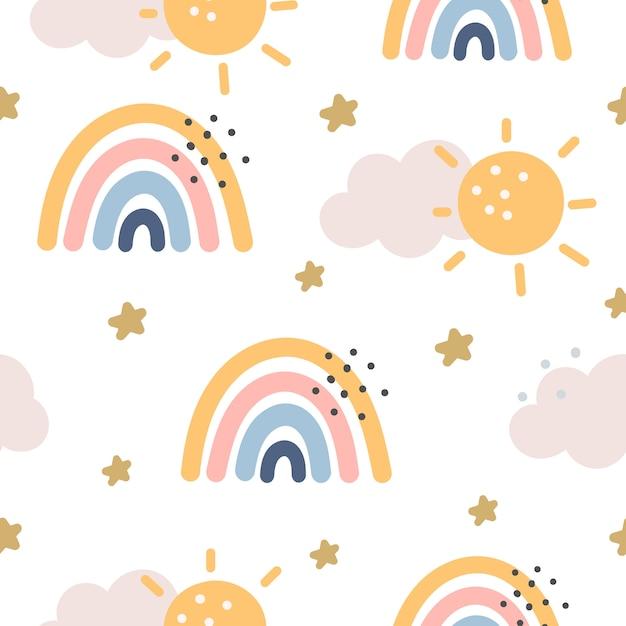 Regenboog en sterren naadloos patroon op paarse achtergrond. scandinavische stijl Premium Vector