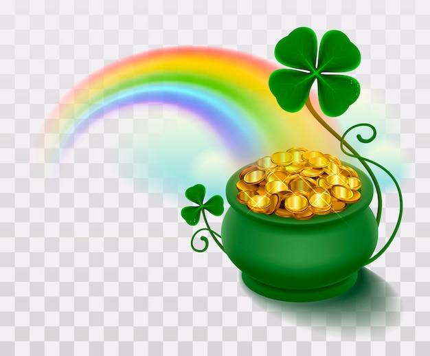 Regenboog, groen blad geluksklaver en pot vol goud Premium Vector