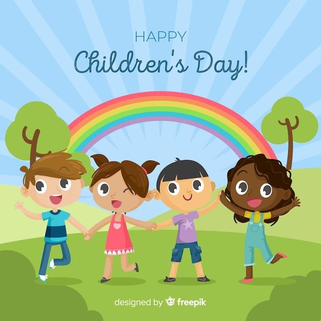 Regenboog kinderen dag achtergrond Gratis Vector