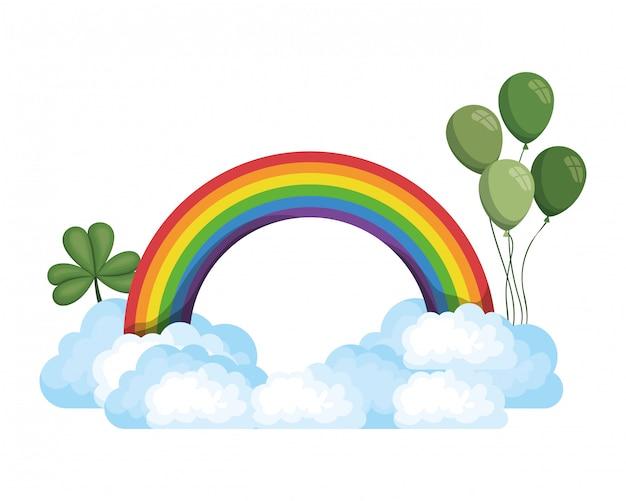 regenboog met wolken ge 239 soleerd pictogram vector