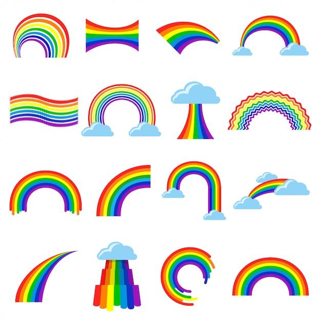 Regenboog pictogram cartoon platte set Premium Vector