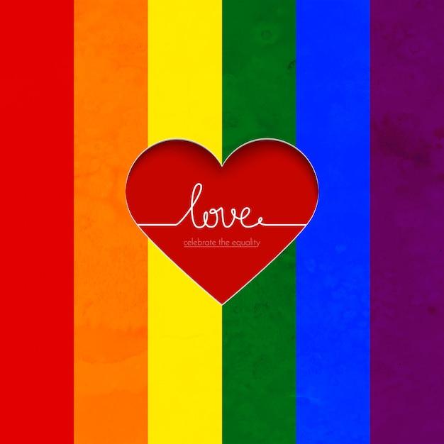 Regenboog vector kaart met hart vieren de gelijkheid van liefde Premium Vector