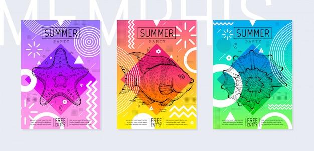 Regenboog zomerfeest poster in geometrische stijl. memphis trendy festivaluitnodiging met schets zeevis, zeester en zeeschelp. Premium Vector