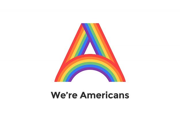 Regenboogbrief a en tekst wij zijn amerikanen voor teken, embleem, etiket. concept lgbt teken voor merk, label, poster. illustratie Premium Vector
