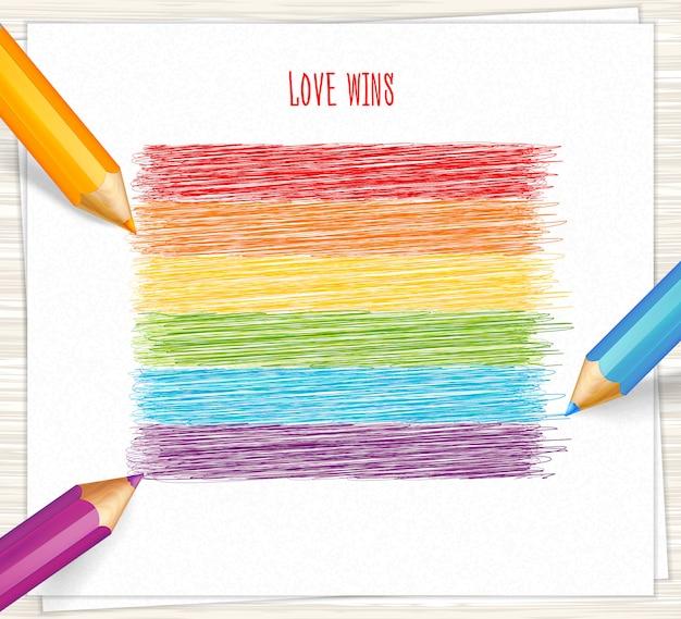Regenboogstrepen getekend met potloden Premium Vector