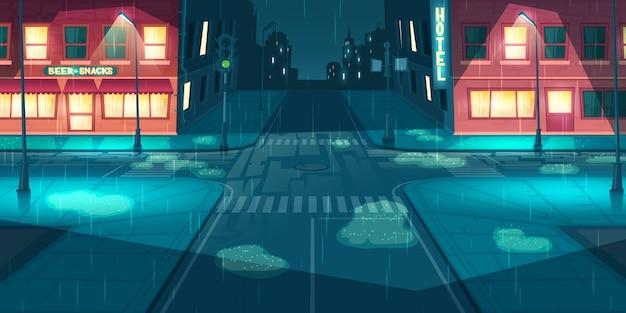 Regenval op stad, stad straat cartoon vector Gratis Vector