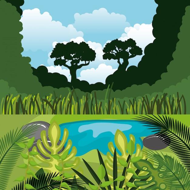 Regenwoud jungle natuurlijke scène Gratis Vector