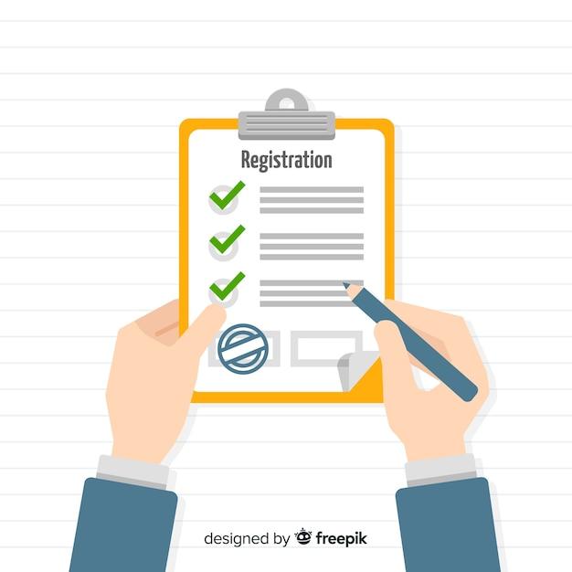 Registratie formuliersjabloon met plat ontwerp Gratis Vector