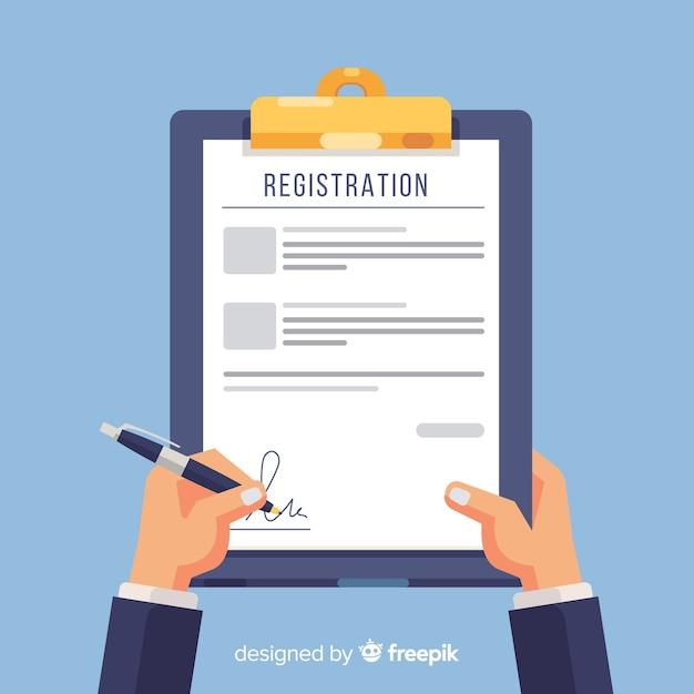 Registratie formuliersjabloon met plat ontwerp Premium Vector