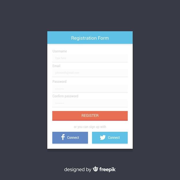Registratieformulier online Gratis Vector