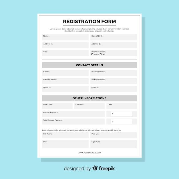 Registratieformulier Gratis Vector