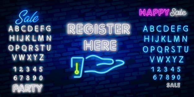 Registreer hier neonbord. lichtgevend bord met kleurrijke inscriptie. nacht heldere advertentie. Premium Vector