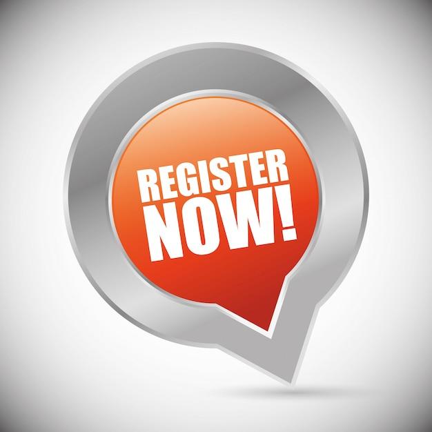 Registreer nu ontwerp. Premium Vector