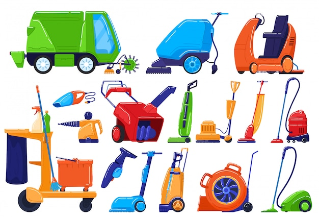 Reinigingsapparatuur, onderhoudsdienstapparaat, veegmachine voor huis en straat, illustratie Premium Vector