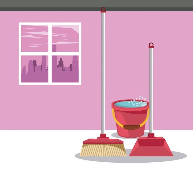Reinigingsproducten voor thuisfilms Gratis Vector