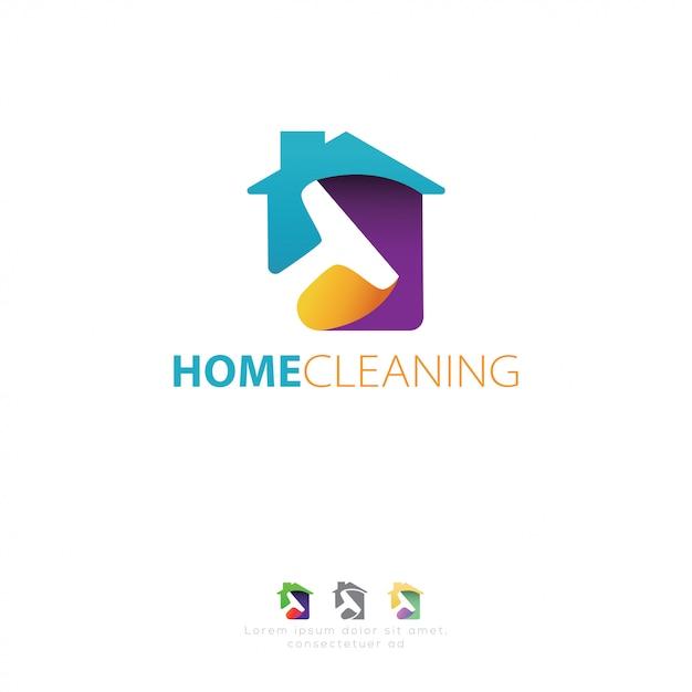 Reinigingsservice-logo Premium Vector