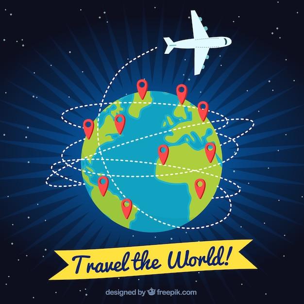 Reis Achtergrond Met Vliegtuig En Spelden Vector Gratis Download