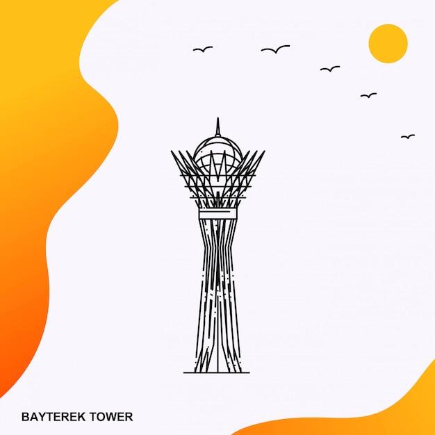 Reis bayterek tower poster sjabloon Premium Vector