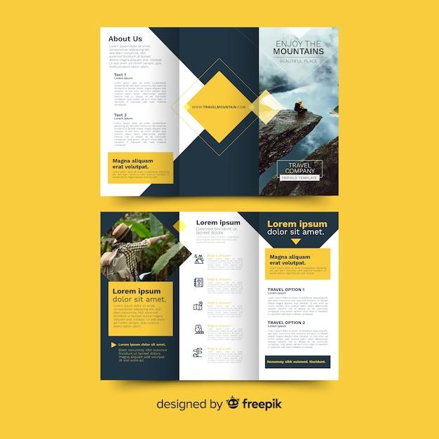 Reis driebladige brochure Gratis Vector