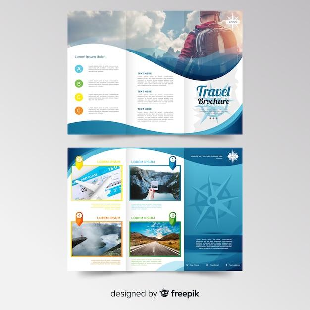 Reis driebladige brochuremalplaatje Premium Vector