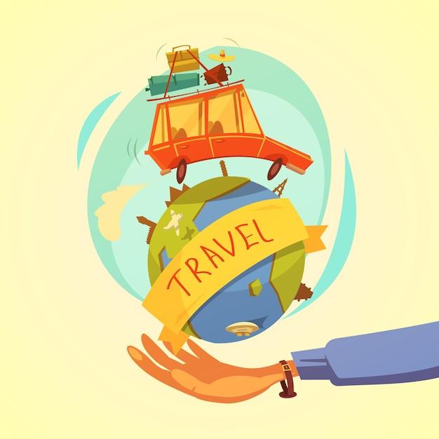 Reis- en toerisme-concept Gratis Vector