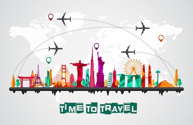 Reis en toerisme van de achtergrond van silhouettenpictogrammen Premium Vector